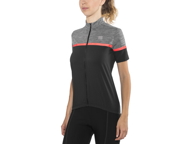 Sportful Giara Maillot de cyclisme Femme, black/anthracite melange/coral fluo